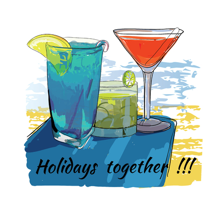 Vector illustration of cocktails set for beach. Holidays together. Hand drawn sketch elements for beach. Illustration