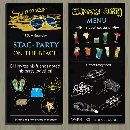 camping site: Vector illustration of stag-party invit on the beach. Holiday, vacation, invitation card,  wedding invitation,  party invitation,  invitation template Illustration