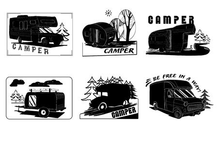 campground: Vector illustration of Set Vintage Hand Drawn logos design, Camper trailer, car Recreation transport, Vehicles Camper Vans Caravans Lines Icons, badges, stamp, print, types, sign. Illustration