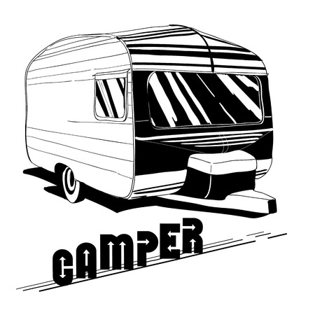caravans: Vector illustration of isolated Hand Drawn, doodle Vintage Camper, car Recreation transport, Vehicles Camper Vans Caravans Icons. Motor home. Object with text.