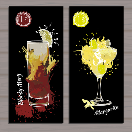 daiquiri: Vector illustration of Poster Cocktail set with price on black background. Template cocktail menu. Alcohol, Summer drinks. Spray, spot watercolor effect