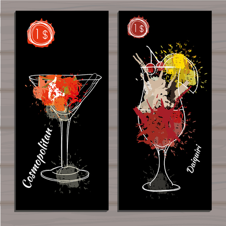 colada: Vector illustration of Poster Cocktail set with price on black background. Template cocktail menu. Alcohol, Summer drinks. Spray, spot watercolor effect