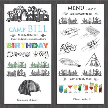 camping site: Vector illustration of invite for children birthday in the camping. Template brochure for birthday with menu on wood background. Graphic poster.