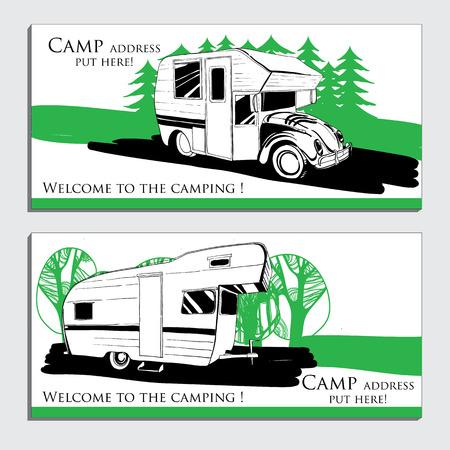 Illustrazione vettoriale di auto Veicoli di ricreazione Camper Vans Caravans biglietto da visita, icona, modello di carta, volantino, invito Trasporto per il campo.