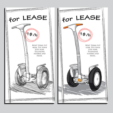 lease: Vector illustration of set Lease Brochure Hand drawn Electric scooter with price. Template for rent design.