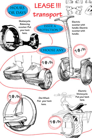 lease: Vector illuctration of Hand drawn brochure for lease. Modern urban transport, Electric scooter, Balancing scooter, Moto cycle. Template booklet.