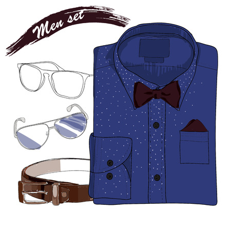 coordination: Vector illustration of Hand drawn, doodle coordination folded shirt , the bow tie, spectacles and belt. Men set on white background. Classical style. Template for brochure, journal, flayer
