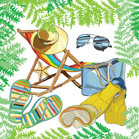 recliner: recliner with hat, sunglasses, slippers, snorkeling equipment