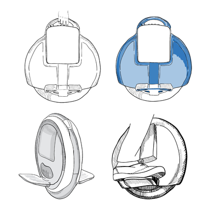 illustration of Hand Drawn Set of  isolate Balancing one wheel e