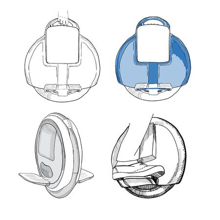 illustration of Hand Drawn Set of  isolate Balancing one wheel e