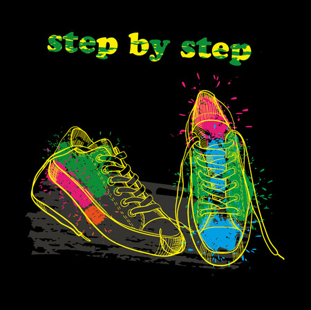 Hand drawn sport shoes with watercolor effect, ink, art and blot object. Step by step.