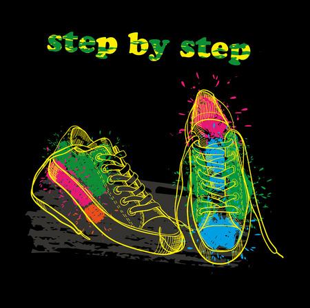 Ręcznie rysowane buty sportowe z efekt akwareli, atrament, sztuki i blot obiektu. Krok po kroku.
