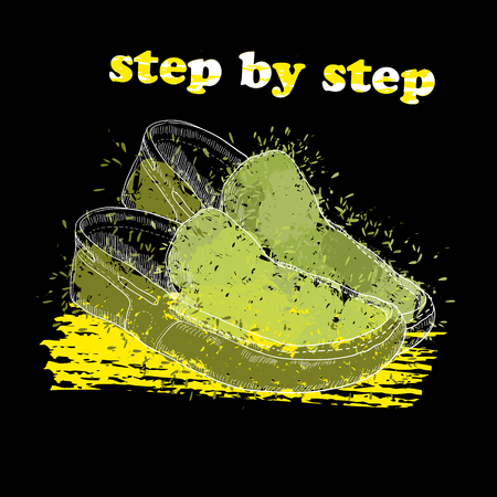 Hand drawn moccasin shoes with watercolor effect, ink, art and blot object. Step by step. Green spring. Illustration