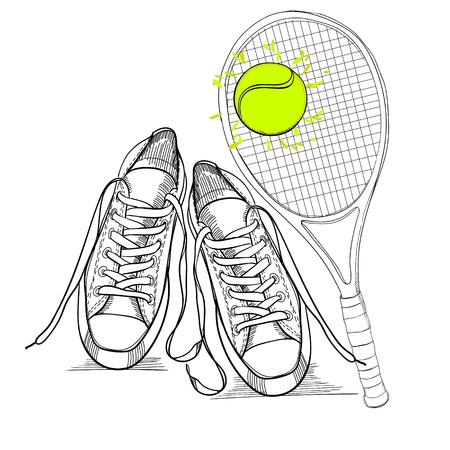 illustraton van tekening geïsoleerde objecten sneakers mettennis racket en bal. Hand getrokken en doodle schoeisel voor logo.