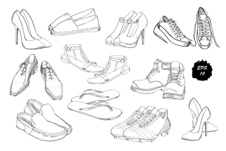 pump shoe: Set hand drawn graphic Men and women Footwear, shoes. Casual and sport style, gumshoes for Shoes for all seasons. Illustration