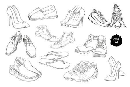 Set Hand Gezeichnet Grafik Manner Und Frauen Schuhe Schuhe Lassige