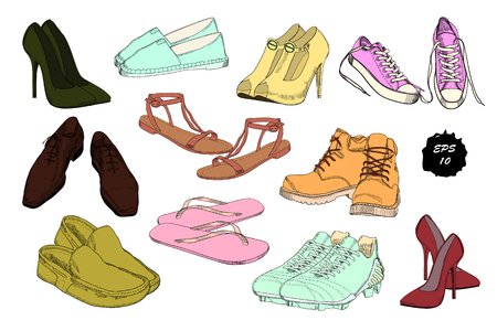 Set hand drawn graphic Men and women Footwear, shoes. Casual and sport style, gumshoes for Shoes for all seasons. 일러스트