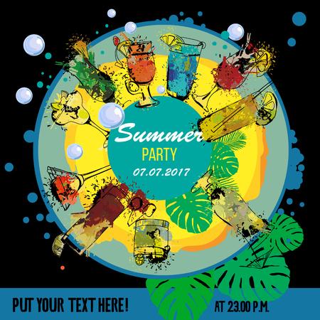 illustration of Cocktail party poster designer. Template for bar menu. Alcohol, Summer drinks. Spray, spot watercolor effect. Illustration