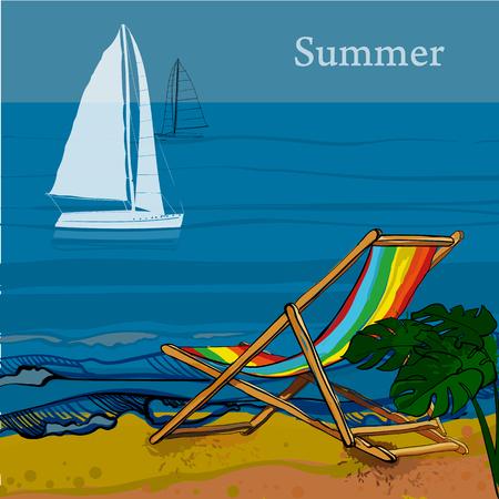 pez vela: Ilustración de la vista frontal del mar, velero y playa con arena, palmeras, tumbona. Postal gráfica en estilo plano con spray. Barco en el agua para las vacaciones de verano.