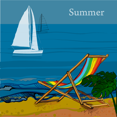 illustration of front view of sea, Sailboat and beach with sand, palms, deck chair. Graphic postcard in flat lay style with spray. Boat on the water for summer holiday.