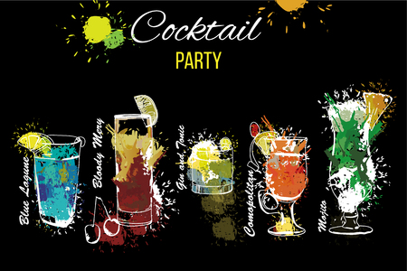 Illustration of Cocktail Party set . Template for cocktail menu. Alcohol, Summer drinks. Spray, spot and melted drips with watercolor effect.