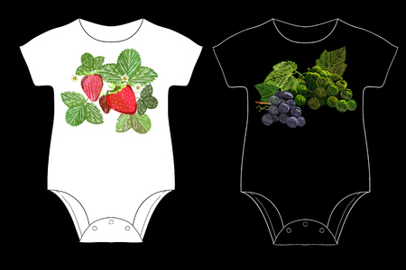 fancywork: Illustration of strawberry and cluster of grapes with a green leaf for Children is embroidery.