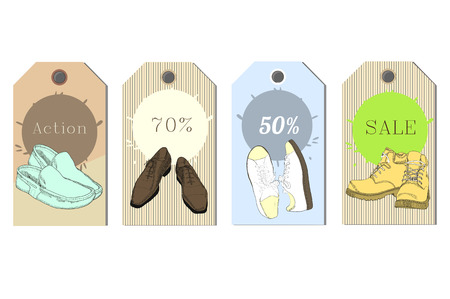 illustration of Set Tags hand drawn graphic Man and Women Footwear, shoes for store discount. Casual and sport style, gumshoes Shoes for all seasons. Moccasins, sneakers, boots, pumps. Doodle, drawn Illustration