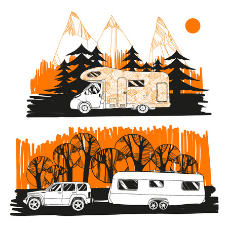 illustration of autumn landscape with camper van on road top view, motorhome. Family trip. Drawing design for logo trip, boho elements.