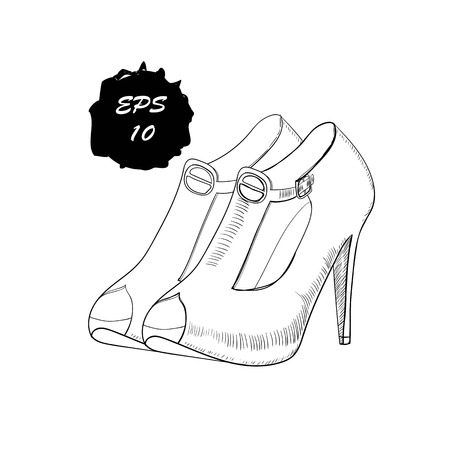 illustration of hand drawn graphic women Footwear, shoes. Doodle, drawing Design isolated object.