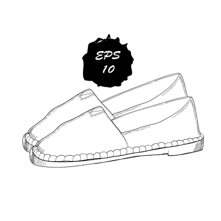 illustration of hand drawn graphic Men and women Footwear, shoes. Moccasins, sneakers, boots, pumps. Doodle, drawing Design isolated object.