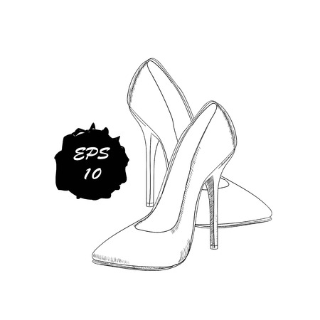 illustration of hand drawn graphic women Footwear, shoes. Official style, dress code. Doodle, drawing Design isolated object. Illustration