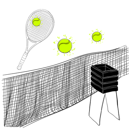 illustration of tennis set of rackets, ball, tennis grid and basket Hand drawn, doodle objects. Sport inventory for winner. Иллюстрация