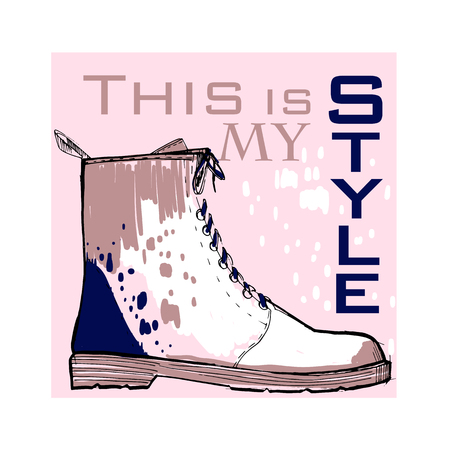 illustration of Font poster with winter women shoes. Graphic top view footwear for female and lady.