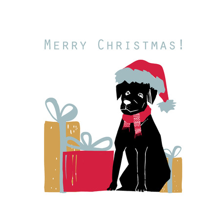illustration of Merry Christmas greeting card with Dog in Santa hat and quote.Scandinavian xmas elements with vintage, natural color. Christmas tree, ball, gift and christmas boot.