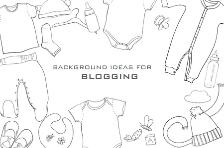 Illustration Of Hand Drawn Baby Clothes Flat Lay Coordination ...
