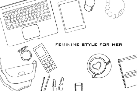 illustration of Hand drawn, doodle flat lay coordination. Feminine clothes and accessorize collage. Women trendy fashion. Top views. Template for blogger, social media. Stock Illustratie