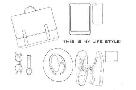 illustration of Hand drawn, doodle flat lay coordination. folded shirt, tie, trousers, shoes, spectacles and belt. Male clothes and accessorize collage. Top views. Template for blogger, social media.