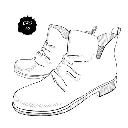 illustration of hand drawn graphic Men and women Footwear, shoes. Shoe for casual and sport style, gumshoes, boots for cold seasons. Doodle, drawing Design isolated object.