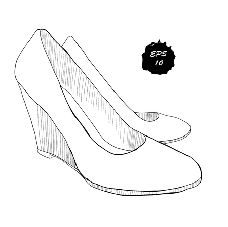 illustration of hand drawn graphic women Footwear in isometric style. Shoes Casual and classical style. Doole, drawing Design isolated object.