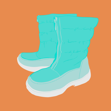 Illustration of hand drawn colorful women Footwear in isometric style. Shoes Casual and sport style, gumshoes, boots for cold seasons. Design isolated object.