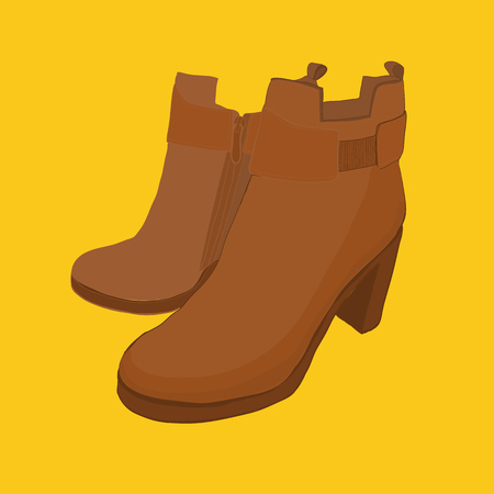 illustration of hand drawn colorful women Footwear in isometric style. Shoes Casual and sport style, gumshoes, boots for cold seasons. Design isolated object. Illustration