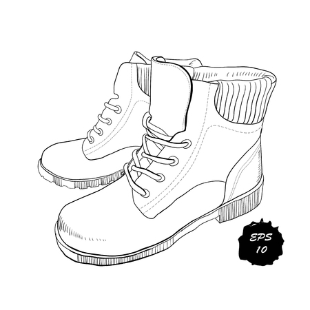 illustration of hand drawn graphic Men and women Footwear, shoes. Casual and sport style, gumshoes, boots for cold seasons. Doodle, drawing Design isolated object.