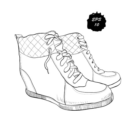 illustration of hand drawn graphic women Footwear, shoes, Shoe for casual and sport style, gumshoes, boots for cold seasons. Doodle, drawing Design isolated object. Illustration