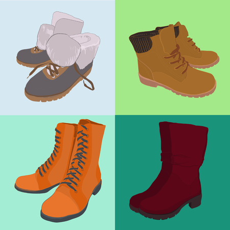 illustration of Set hand drawn colorful women Footwear in isometric style. Shoes Casual and sport style, gumshoes, boots for cold seasons. Design isolated object.