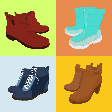 illustration of Set hand drawn colorful women Footwear in isometric style. Shoes Casual and sport style, gumshoes, boots for cold seasons. Doodle, drawing Design isolated object. Vettoriali