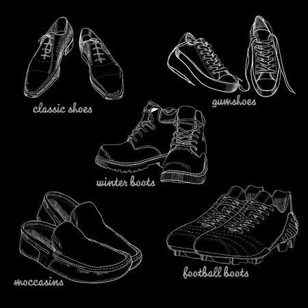 Set hand drawn graphic Men Footwear on black background. Casual and sport style for man. Shoes for all seasons. Doodle Design isolated object for logo. Vettoriali