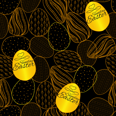 Seamless pattern with Easter eggs. Hand drawn pattern for Easter Ilustrace