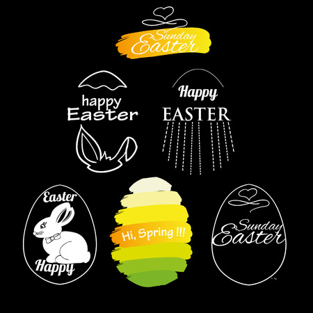 illustration of label elements Easter phrases .Greeting card text templates with Easter eggs and bunny on black background. Happy easter lettering modern calligraphy style.