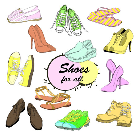 Vector illustration of set hand drawn graphic man and women footwear, shoes for store discount. Casual and sport style, gumshoes Shoes for all seasons. Moccasins, sneakers, boots, pumps. Doodle, drawn. Vettoriali