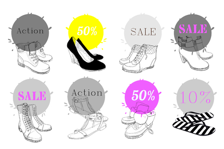 Illustration of set hand drawn sign of graphic man and women footwear, shoes for store discount.